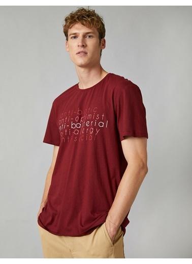 Koton Respect Life - Yasama Saygi - Pamuklu Bisiklet Yaka Kisa Kollu Yazili Baskili T-shirt Bordo